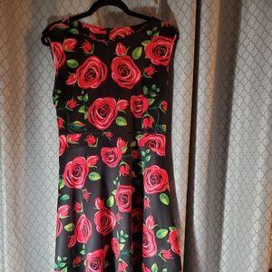 Dresses & Skirts - Black Printed A-Line Dressw/Tie Back